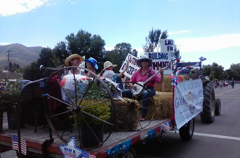 UBWR Grange float in Hailey 4th of July parade