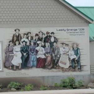 Mural on the side of Leedy Grange Hall